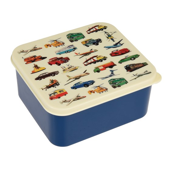 blue vintage transport lunch box