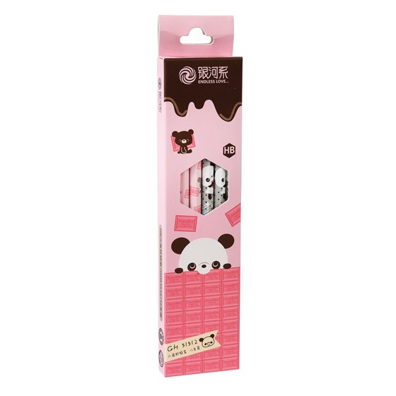 pack of 12 pink panda pencils
