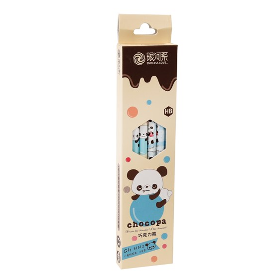 pack of 12 choco panda pencils