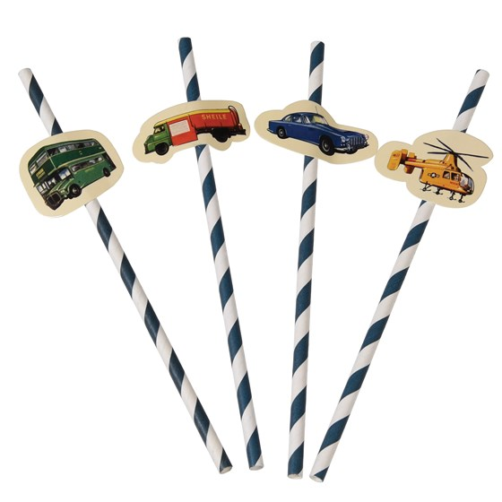 pack of 4 vintage transport paper party straws