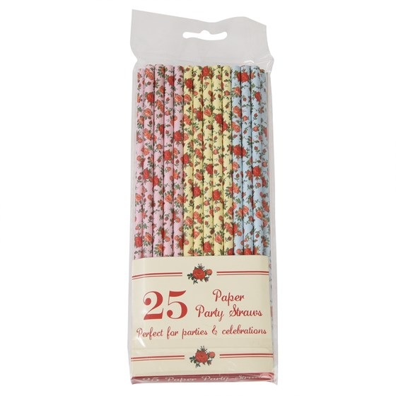 pack of 25 assorted rose straws