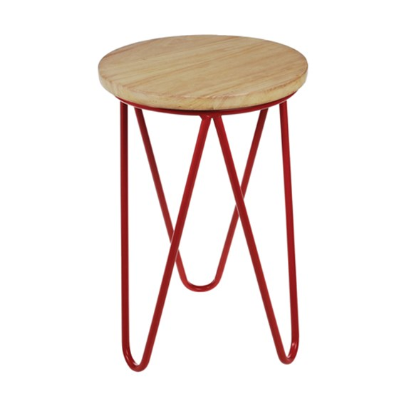 fifties wooden stool red