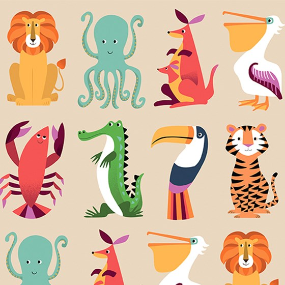 "papier d'emballage ""colourful creatures"""