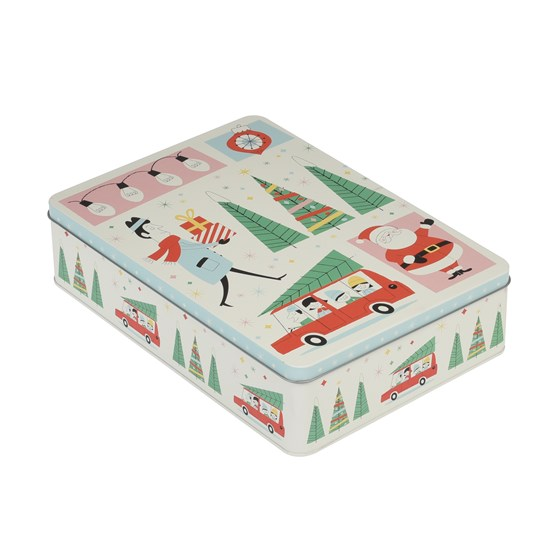 rectangular festive family christmas biscuit tin