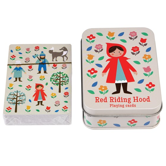 red riding hood playing cards in a tin