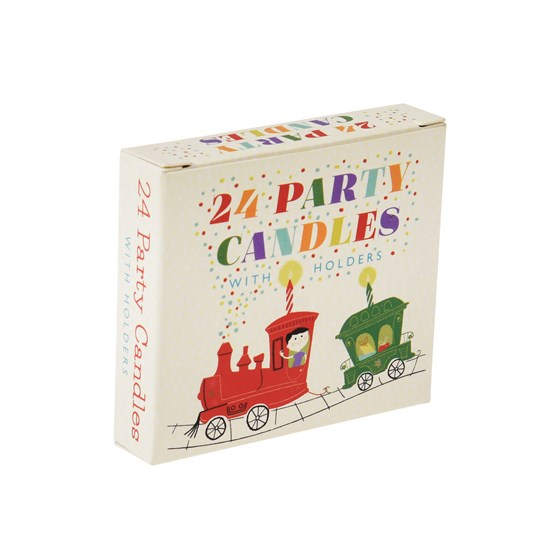 SET OF 24 PARTY TRAIN CAKE CANDLES