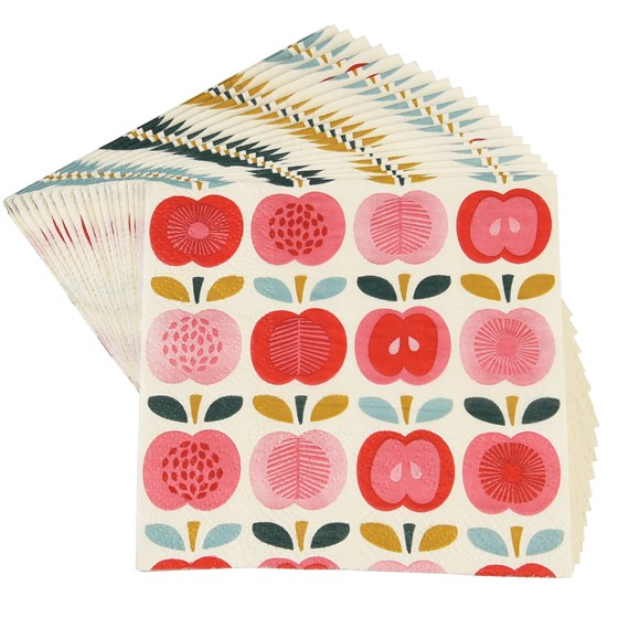 PACK OF 20 VINTAGE APPLE COCKTAIL NAPKINS