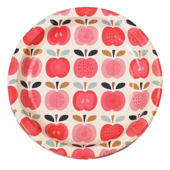 set 8 paper plates vintage apple
