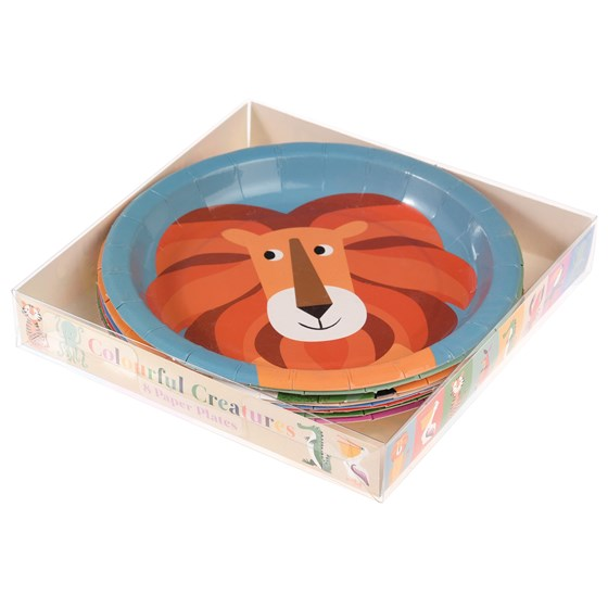 PACK OF 8 PAPER PLATES COLOURFUL CREATURES DESIGN
