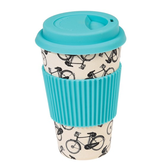 "coffee to go - becher aus bambus ""bicycle rider"""