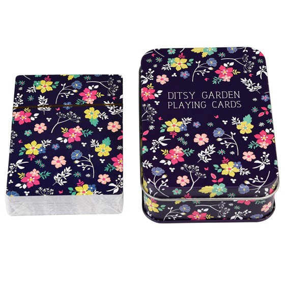 ditsy garden playing cards in tin