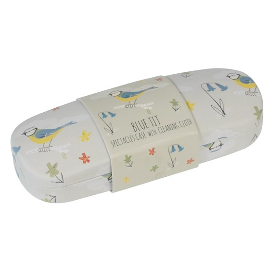 blue tits hardshell glasses case & cleaning cloth