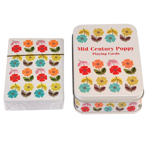 MID CENTURY POPPY PLAYING CARDS IN A TIN