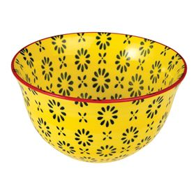 yellow daisy stoneware bowl
