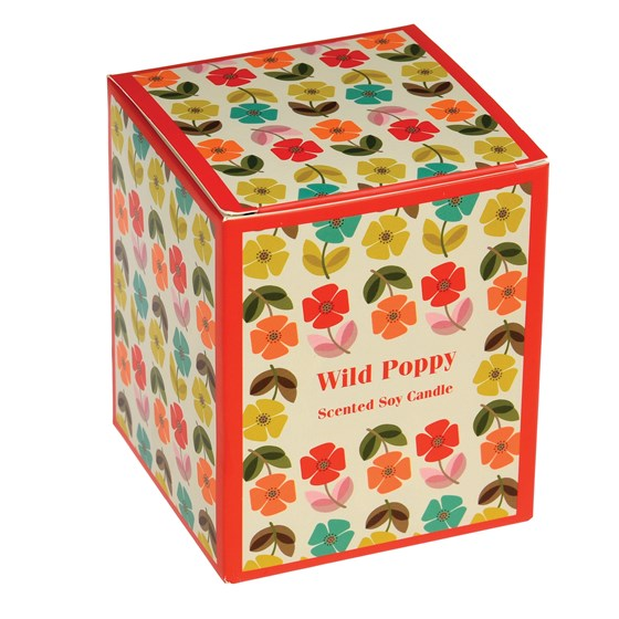 mid century poppy boxed scented soy candle