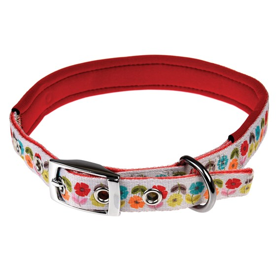 large mid century poppy dog collar