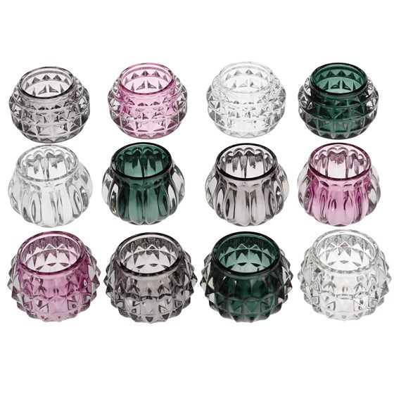 assorted colour art deco glass tealight holder