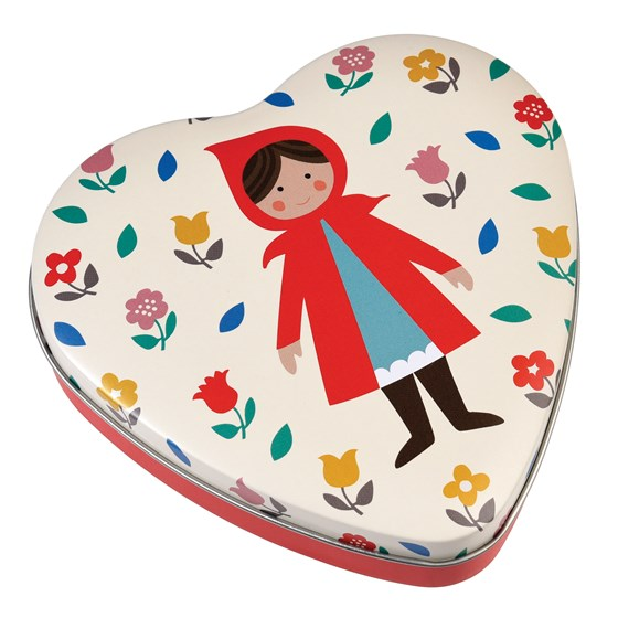 red riding hood heart shape tin