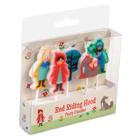 pack of 5 red riding hood party candles