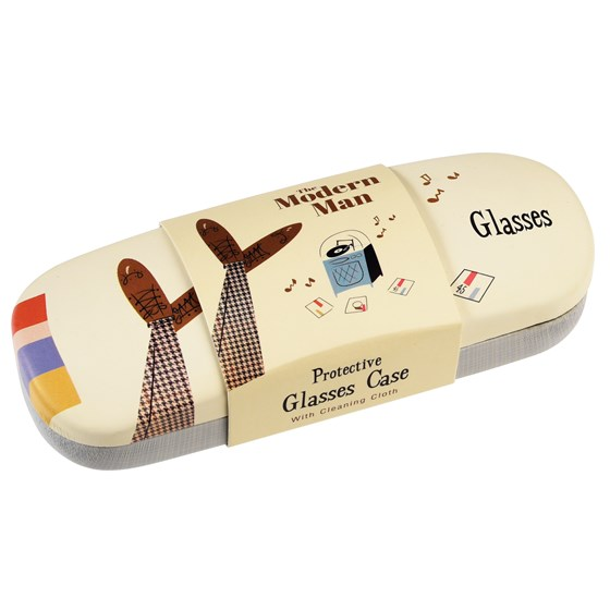 modern man glasses case & cleaning cloth