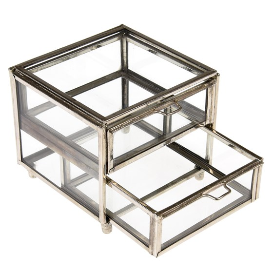 two drawer brass box in silver