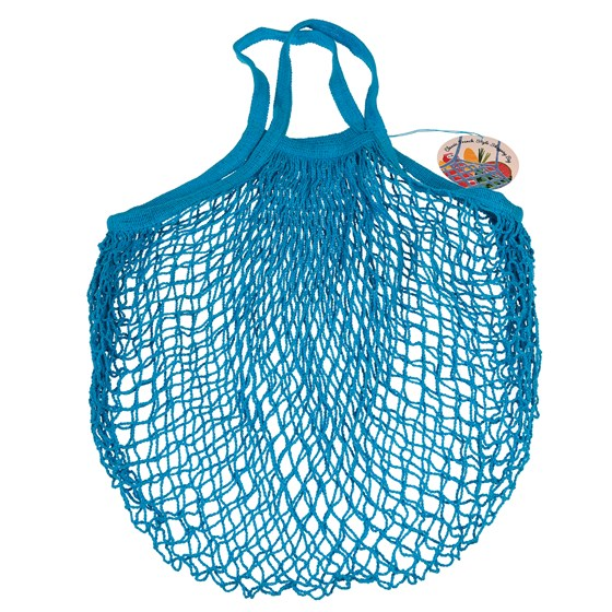 blue french style string shopping bag