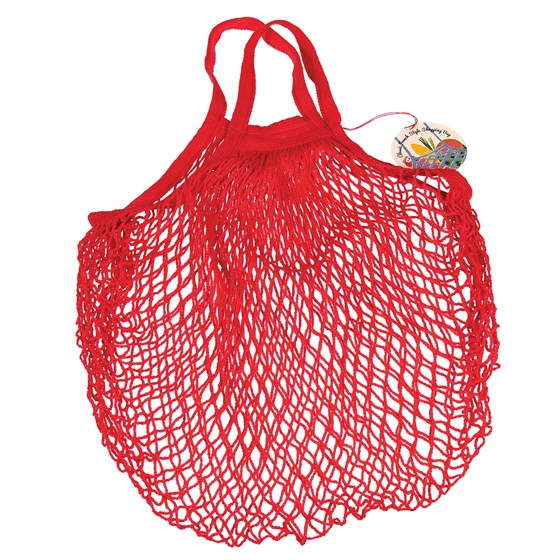 red french style string shopping bag
