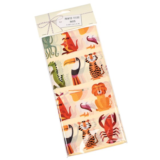 COLOURFUL CREATURES TISSUE PAPER (10 SHEETS)