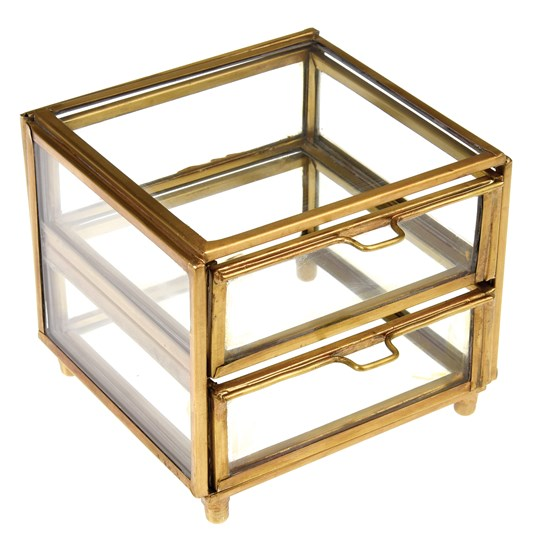 two drawer brass box
