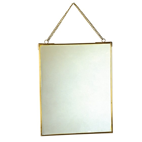 hanging brass mirror 20x25