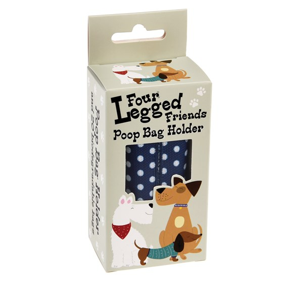 BLUE POLKA DOT POOP BAG HOLDER