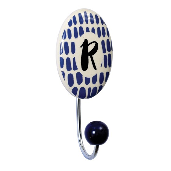 painted ceramic letter hook r