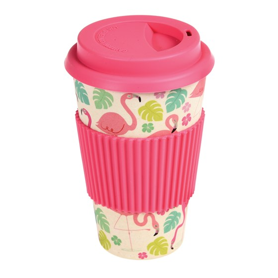 "coffee to go - becher aus bambus ""flamingo bay"""