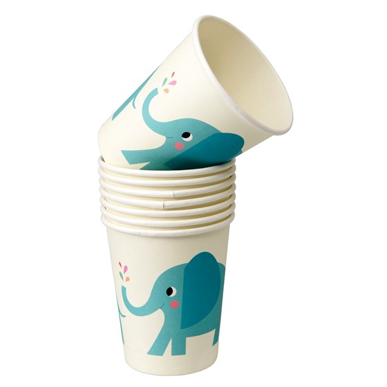 elvis the elephant paper cups (set of 8)