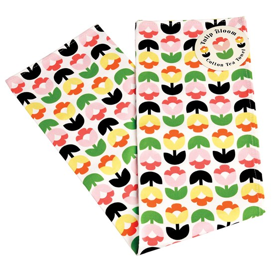 tulip bloom tea towel