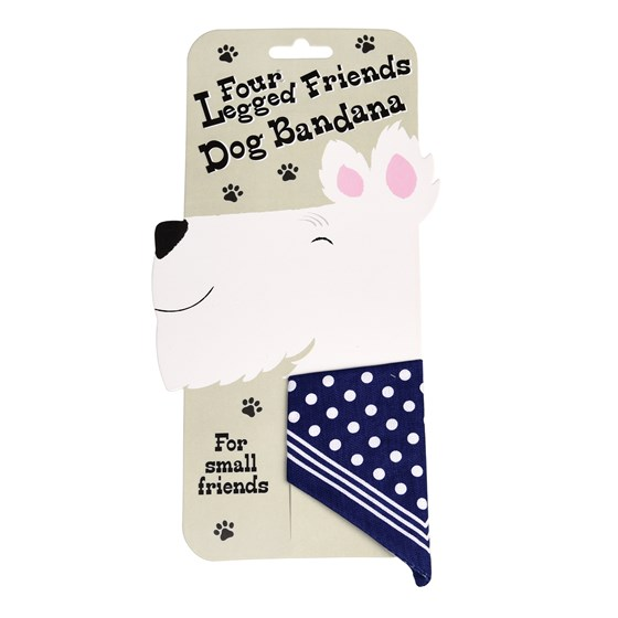 SMALL BLUE POLKA DOT DOG BANDANA