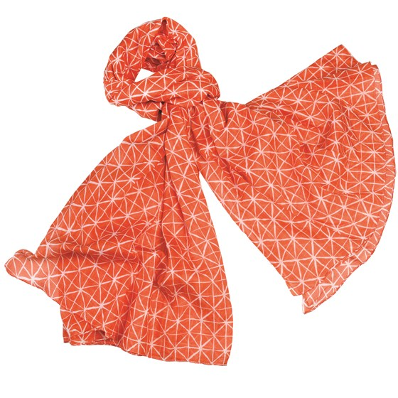 mosaic coral cotton scarf