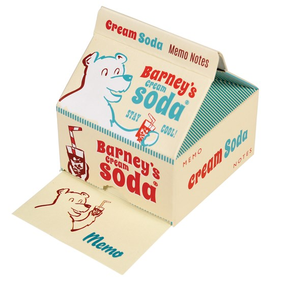 memo pads in cream soda carton
