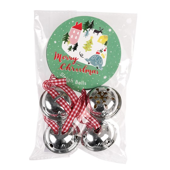 christmas wonderland jingle bells set of 4 - Rustic Christmas Decorations Wholesale