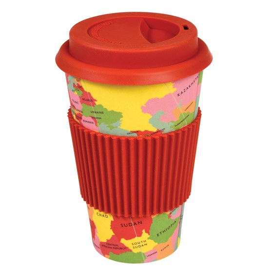 world map bamboo travel mug