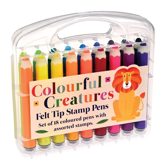 COLOURFUL CREATURES FELT TIP STAMP PENS (SET OF 18)