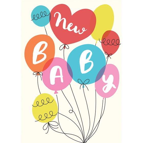 party balloons new baby card