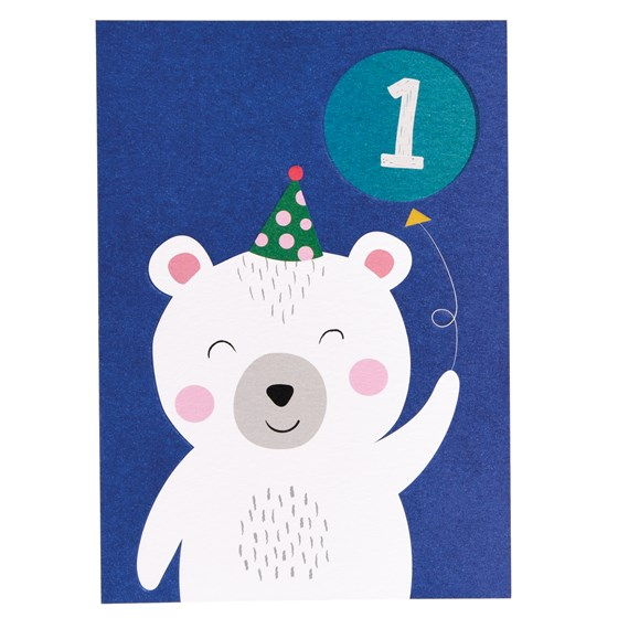 polar bear 1st birthday card