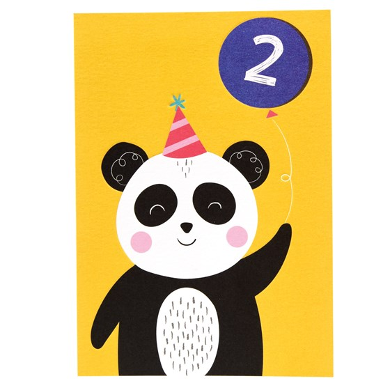 panda 2nd birthday card