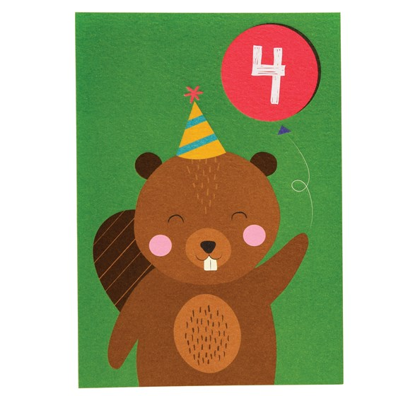 beaver 4th birthday card
