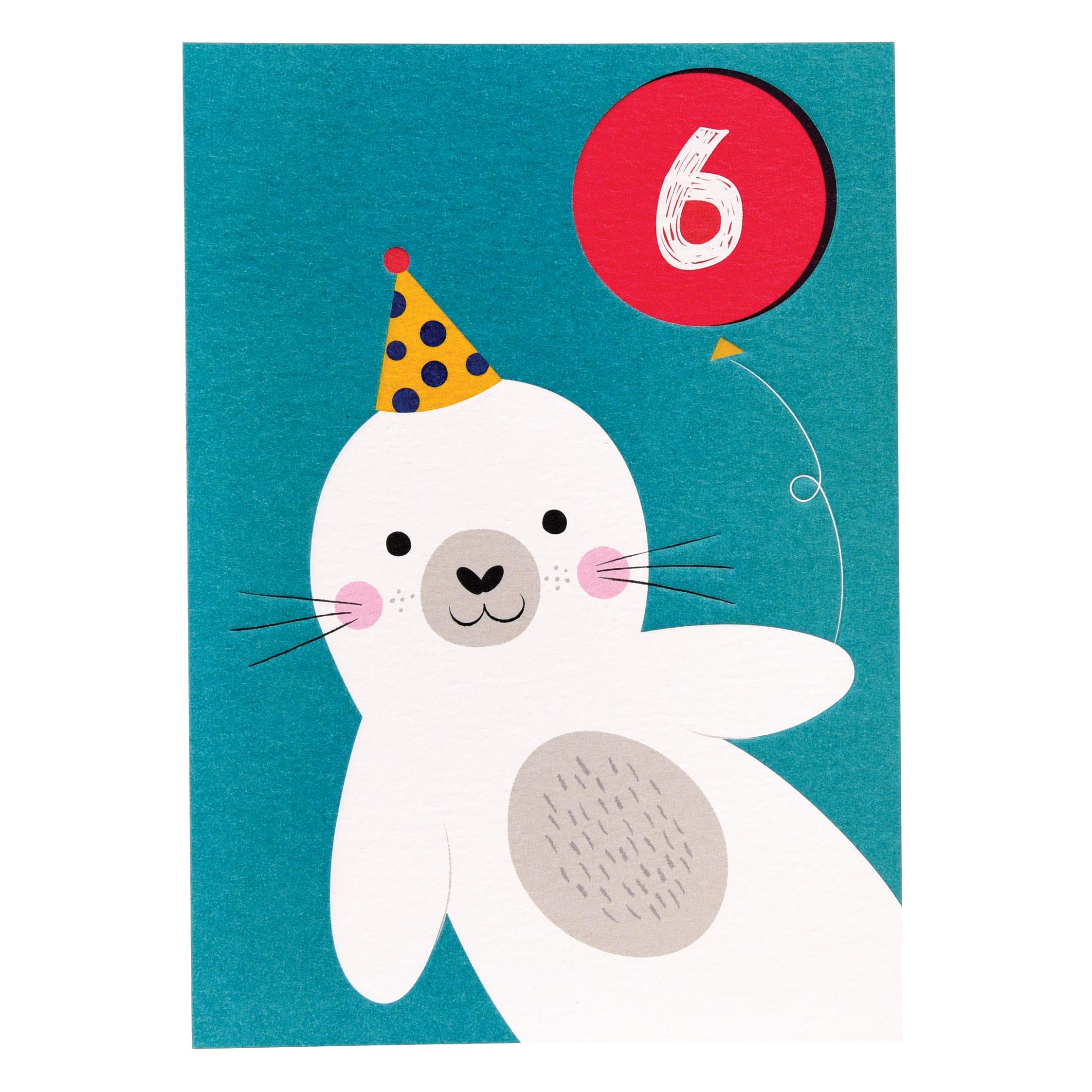 Tarjeta De Cumpleaños 6 Años Foca Rex London Vente Al Por