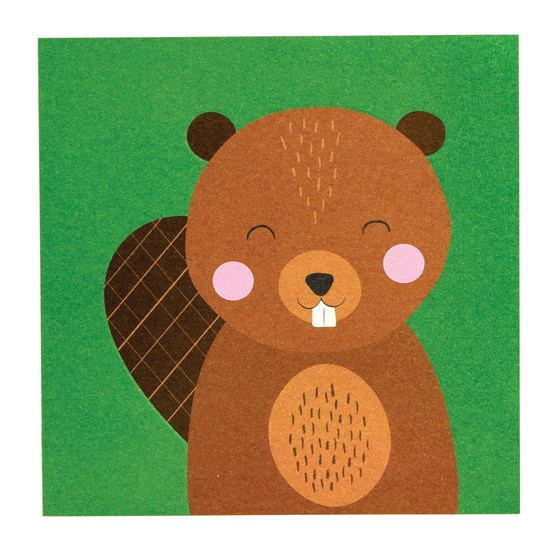 beaver animal friend card
