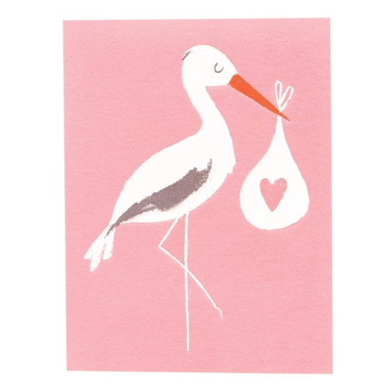 pink baby bundle stork card
