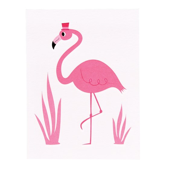 flamingo bell boy card