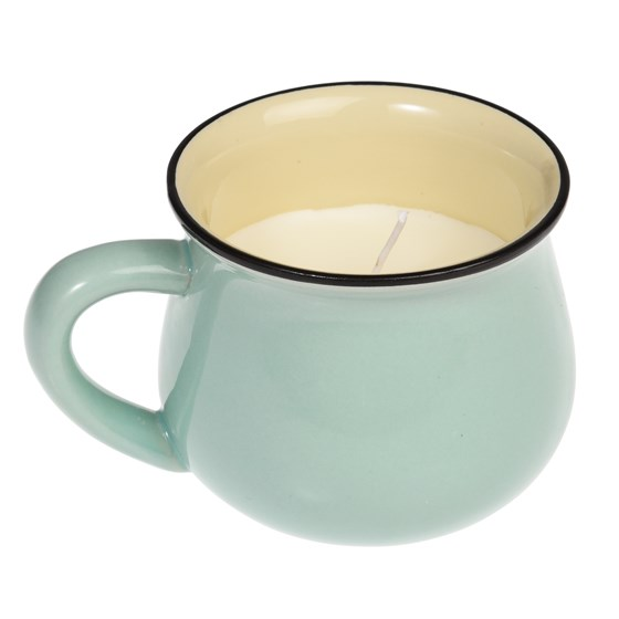 scented natural wax candle in a green mug